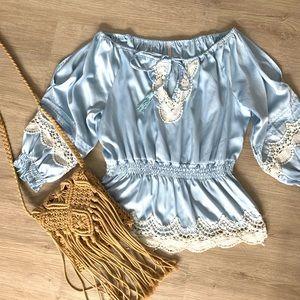 Tops - 🦋BOHO🦋 BABY BLUE SATIN CROCHET TOP SZ M